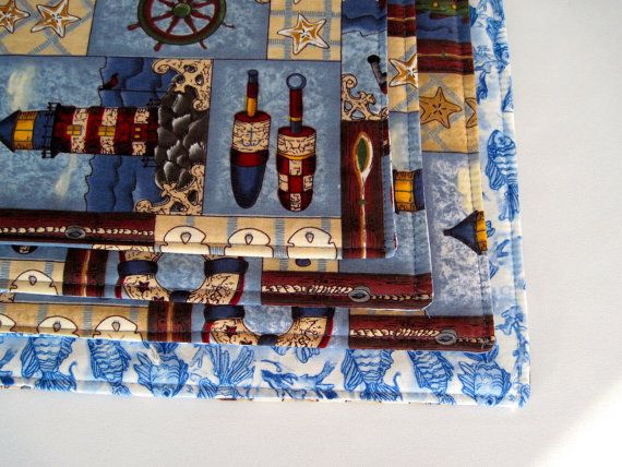 Nautical Placemats Set of 4 Rectangle by tracystreasuresri on Etsy, $22.00