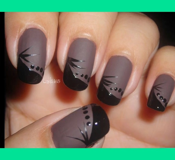 Matte and gloss. So cute! Don't have a matte Polish? Put cornstarch in your top coat. :)