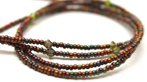 Earthy Czech Seed Beads and Crystals Lanyard, ID or Badge Holder on Artfire