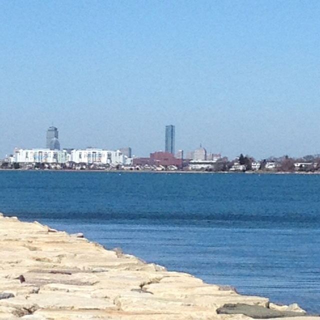 View of Boston from Wollaston beach Quincy MA
