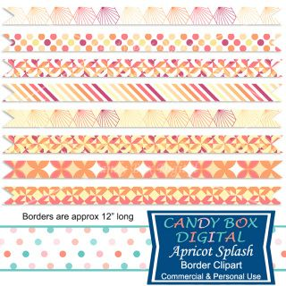 These borders really shine with their warm, ripe apricot colors of peach, burgundy and yellow. They can be used as borders for scrapbooks, journals, invitations, cards, newsletters, as website dividers, etc... And as with all my clip art, these ribbons are royalty free and can be used commercially!