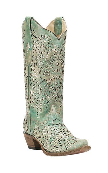 Corral Boot Company Women's Turquoise with Glitter Inlay Western Snip Toe Boots | Cavender's