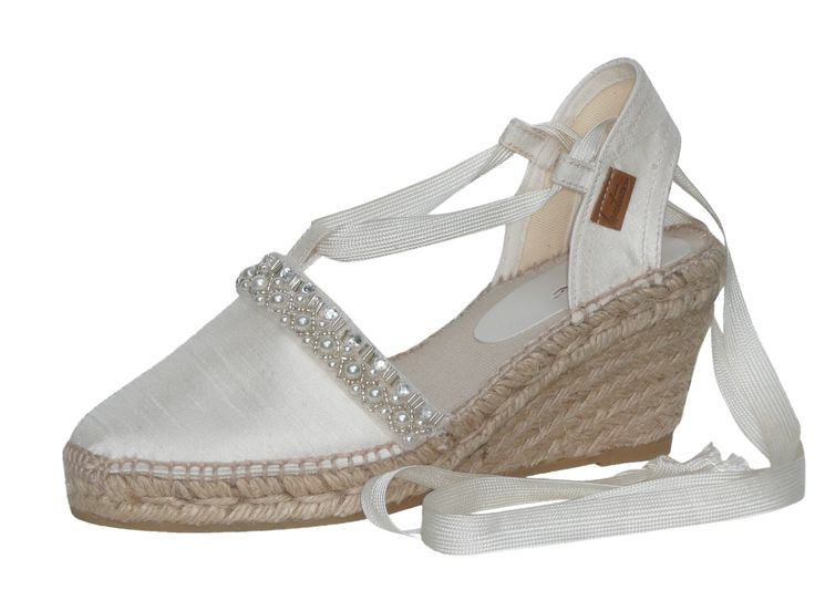 """L ecru wild silk and pearls"" #bridal #espadrilles #alpargatas #novia #boda #wedding"