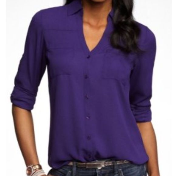 Express portofino deep purple blouse Express portofino dark purple blouse. Only worn a few times and in great used condition. Fits true to size. Express Tops Blouses