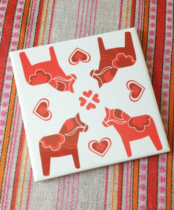 Red Dala Horse and Hearts Printed Tile Trivet 6x6