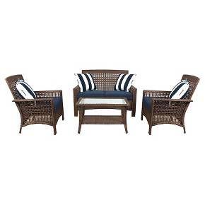 Wicker 4pc Patio Conversation Set - Navy Cushions