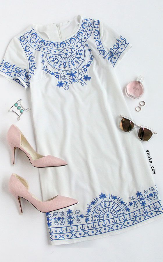 White Short Sleeve Embroidered Shift Dress