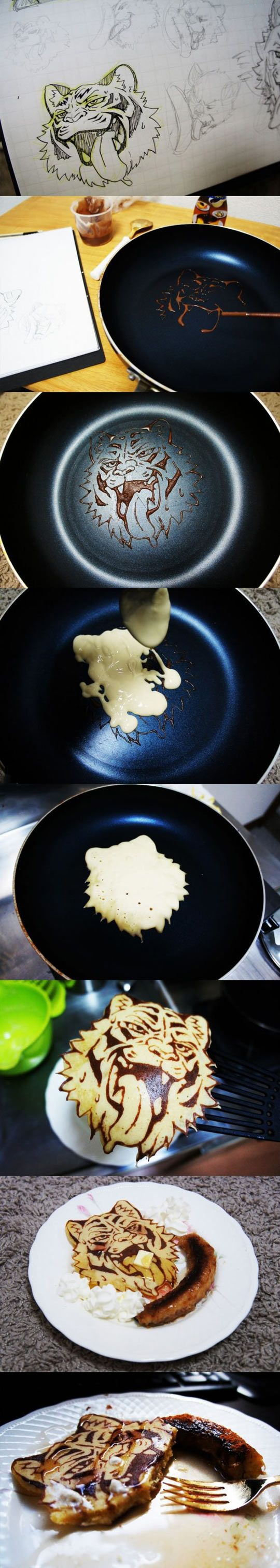 Cool breakfast ideas: Drawing Tiger Hotcake