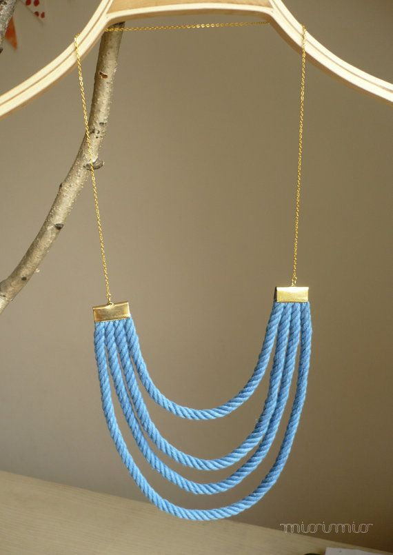 Eco friendly nautical fashion urban multi strand necklace. Sky blue cotton rope, gold colored nickel free chain
