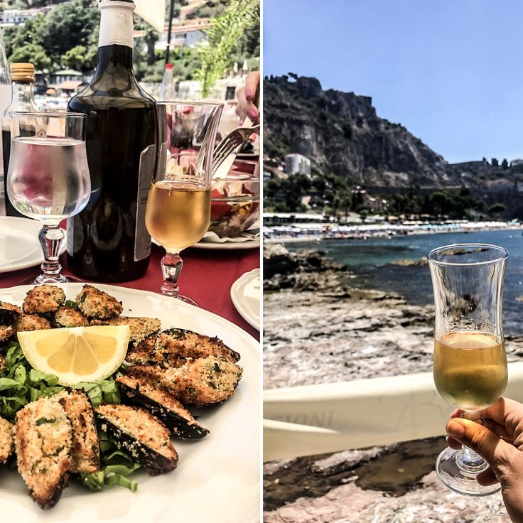 Food and drinks on the beach in Isola Bella. You must try the local wine; it's different from everything I've tasted.