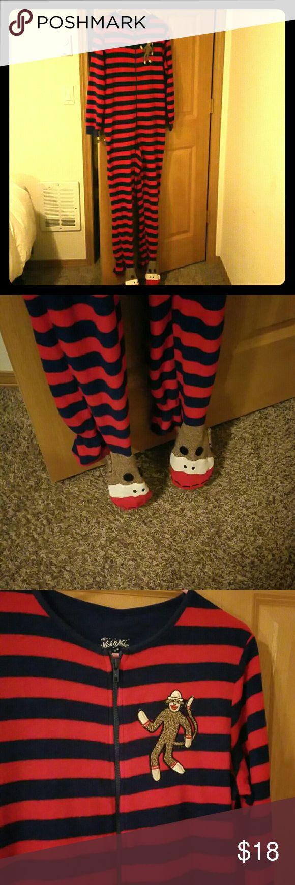 Onesie pajamas. Sock monkey Sock monkey onesie with the feeties. Zip up. Adult small nick and nora Intimates & Sleepwear Pajamas