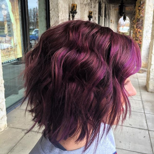 Amazing Dimensional Plum Hair Color Achieved With Aveda