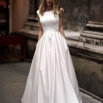 Popular 2019 Satin Wedding Dresses with Belt Scoop Neck Modest A-line Wedding Gowns for Brides W2620 from Ulass