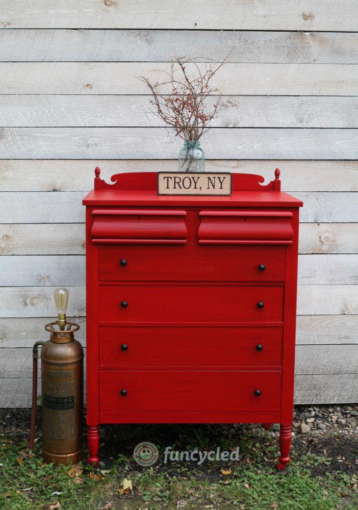 red painted dresser #paintedfurniture vintage dresser