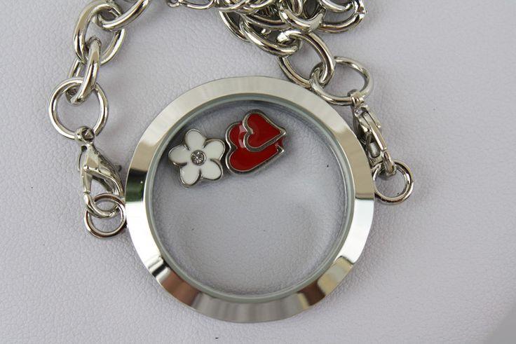 Armbänder - Armband Anhänger floating charm Herz Blume rot - ein Designerstück von trixies-zauberhafte-Welten bei DaWanda