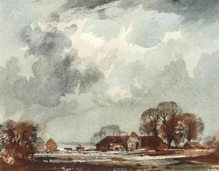 Rowland Hilder (1905 — 1993, UK) Allhallows, Kent. watercolour. 27 x 33 cm. (10 5/8 x 13 in.)