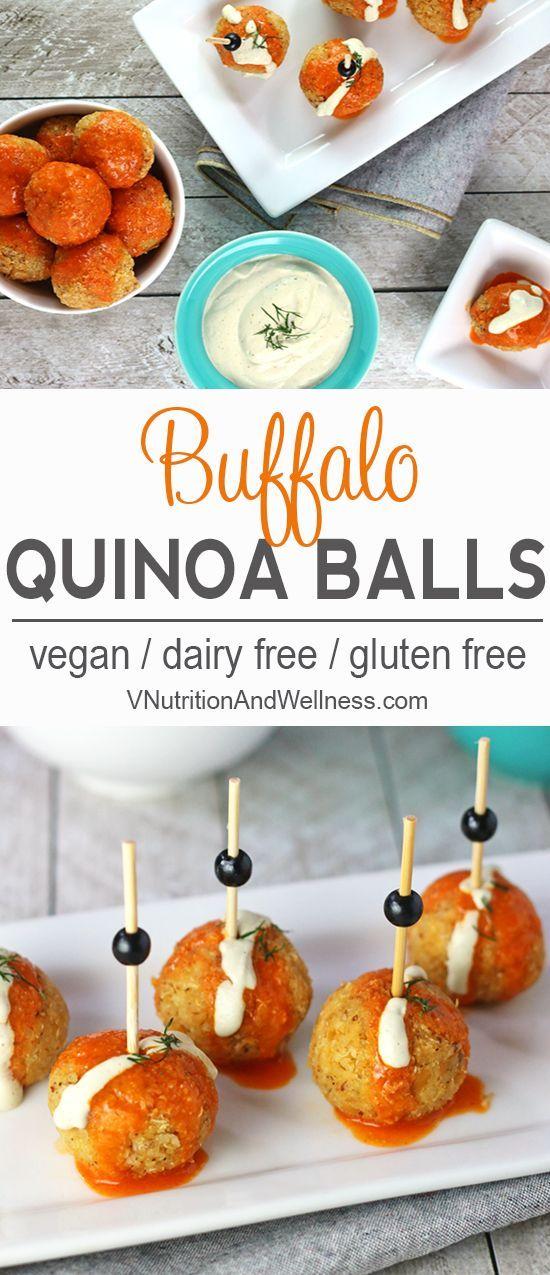 Buffalo Quinoa Balls | These Buffalo Quinoa Balls are a nice way to get that Buffalo sauce fix without meat! vegan, vegan buffalo sauce, buffalo sauce recipe via @VNutritionist
