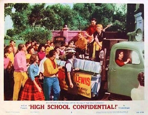 "HIGH SCHOOL CONFIDENTIAL 1958 Sex kitten Mamie Van Doren (she's smokin'!) and Jerry Lee Lewis in a high school that is a teacher's nightmare! Weed, goof balls and ""H."" All the high-class kids are on drugs! On DVD."