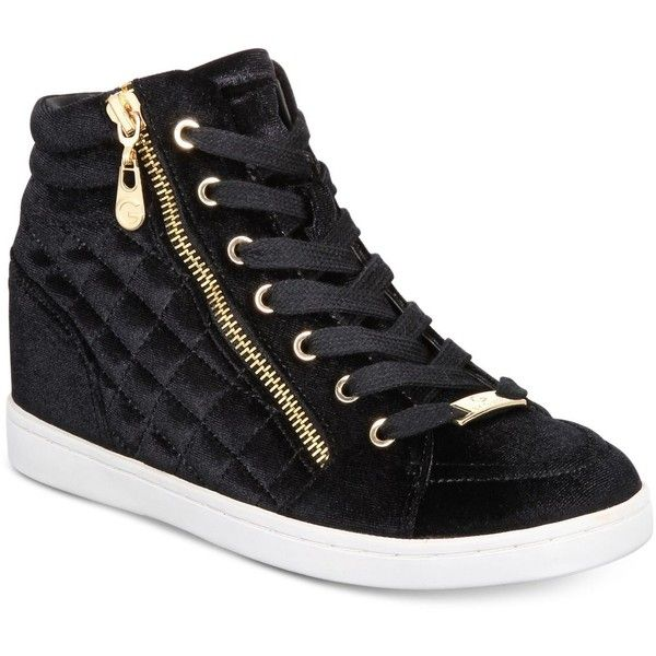 G by Guess Daryl High-Top Sneakers (€57) ❤ liked on Polyvore featuring shoes, sneakers, black velvet, black hi top sneakers, g by guess sneakers, high top zipper sneakers, wedge high tops and black hi tops