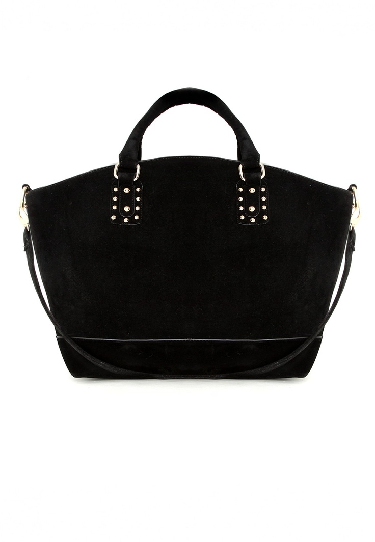Davite Suede Shopper Bag in Black #MGWINTERWARDROBE