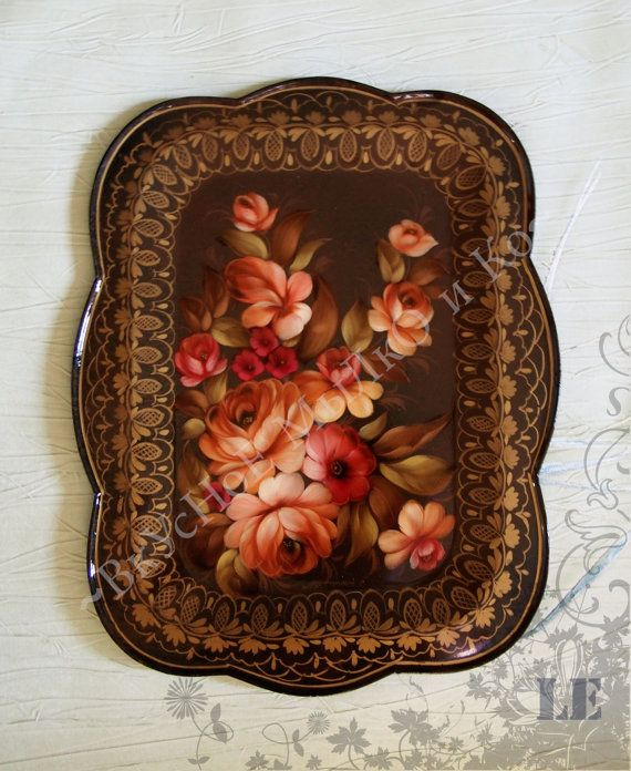 Zhostovo tray Autumn by SoapandZostovo on Etsy
