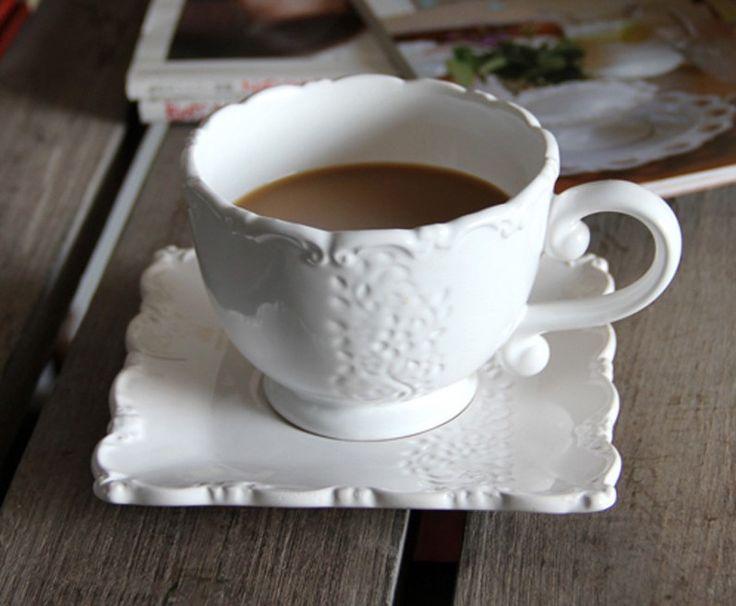 Cheap Trasporto libero, grande moda francese casa zakka rilievo handmade  Pizzo unico di ceramica tazza di caffè e piattino set 2 tazze e 2  Piatti/lotto, Compro Qualità Tazze direttamente da fornitori della Cina:        Tutte le domande si prega di chiacchierare con sulla linea o lasciare un messaggio, io ti risponderò molto presto