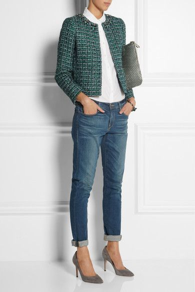 boyfriend jeans with a tweed jacket. Modern classic!