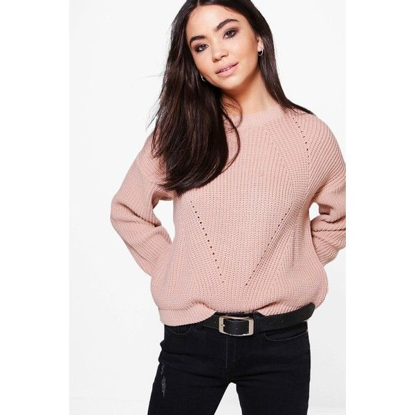 Boohoo Bethany Mix Stitch Jumper ($16) ❤ liked on Polyvore featuring tops, sweaters, party jumpers, pink sweater, pink jumper, stitch sweater and turtle neck sweater