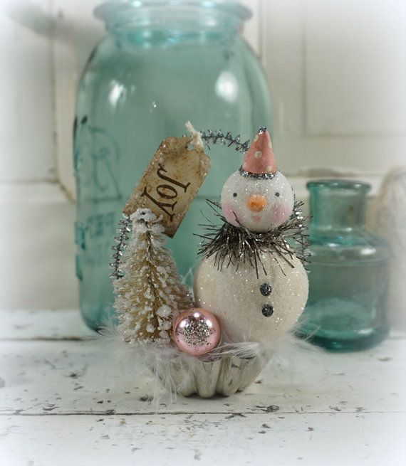 Snowman // Christmas Decor // Ornament // Vintage Style Christmas // Farmhouse Chistmas // Bottle Brush Tree // Antique Christmas