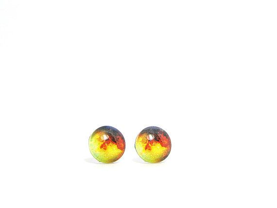 Galaxy earrings Galaxy studs Universe earrings Red by AnnieKattie