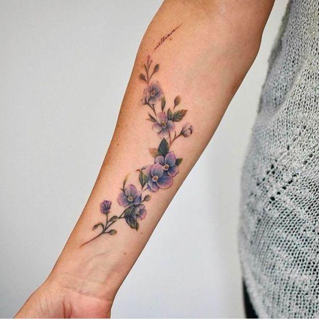 20 Beautiful Wrist Tattoo Ideas Flower Wrist Tattoos Vine Tattoos Purple Flower Tattoos
