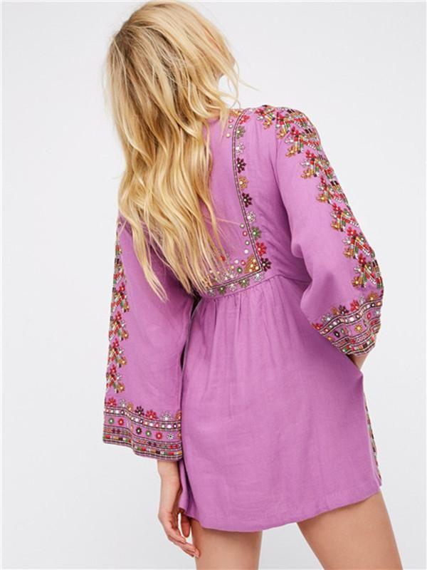 Retro National Style Inwrought Floral-Print Tassels Half Sleeve Round Neck Mini Dress