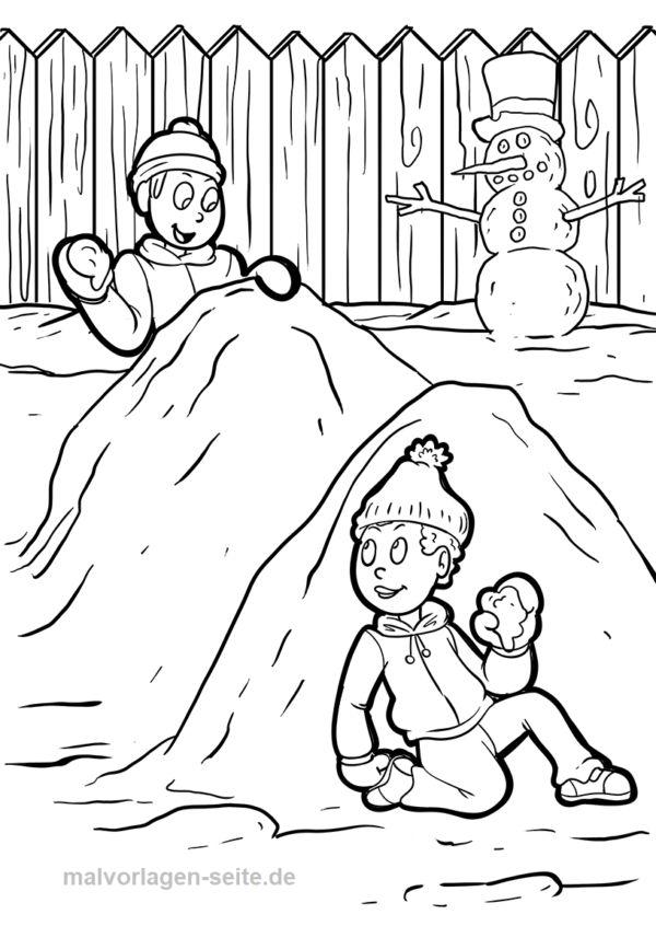 malvorlage winter schneeballschlacht   malvorlagen