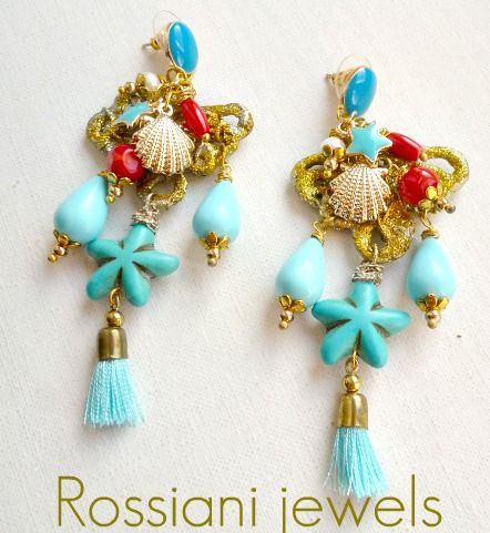 Blue Stars, Tropical line - coral, turquoise, mixed stones and pearls - Rossiani Jewels - Italian handmade jewels - Made in Italy