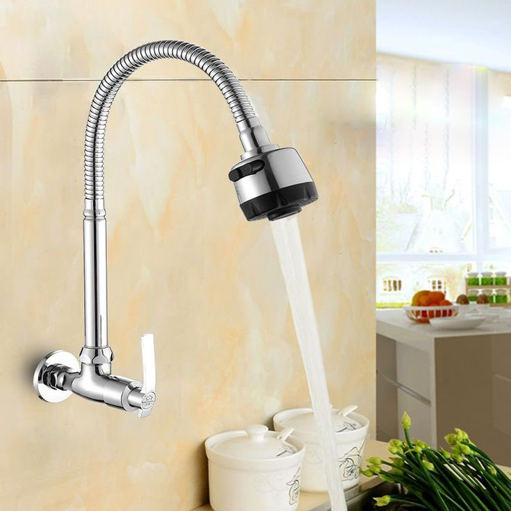 JOOE Chrome Wall Mounted Kitchen Taps Single Handle Kitchen Faucet Brass Cold Water Faucet torneiras de parede robinet cuisine