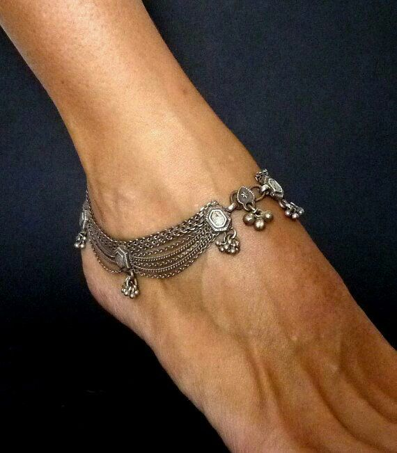 Indian antique silver anklets