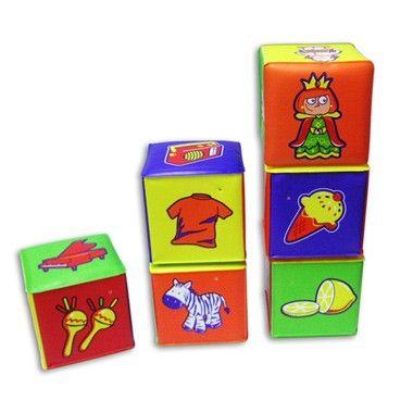 Baby bouwblokken 6 stuks. Met deze bouwblokken leren kinderen niet alleen bouwen maar ook verschillende items te herkennen. Op ieder vlak van elk blok staat een andere afbeelding. #speelgoed #toys