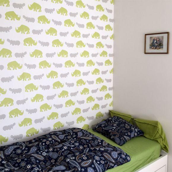 Tapeta hroši a nosorožci, wallpaper rhinoceros hippo, tapeta z realizace, zelená a šedá