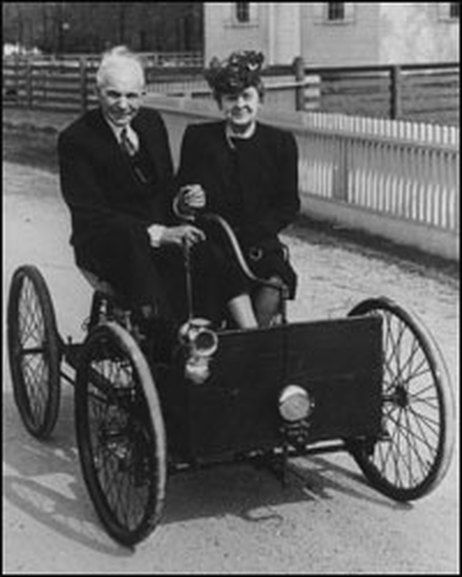 """Henry Ford Senior- Mr. Ford saluted my Great-Grandpa Sydney and Mister Stacey- having noticed their California plates and pennants and flags on the car- somewhere between Detroit and Cleveland.  He was driving """"a big, powerful car."""""""