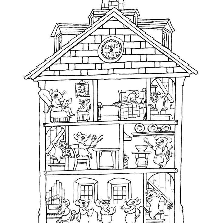 House Coloring Page With Furniture
