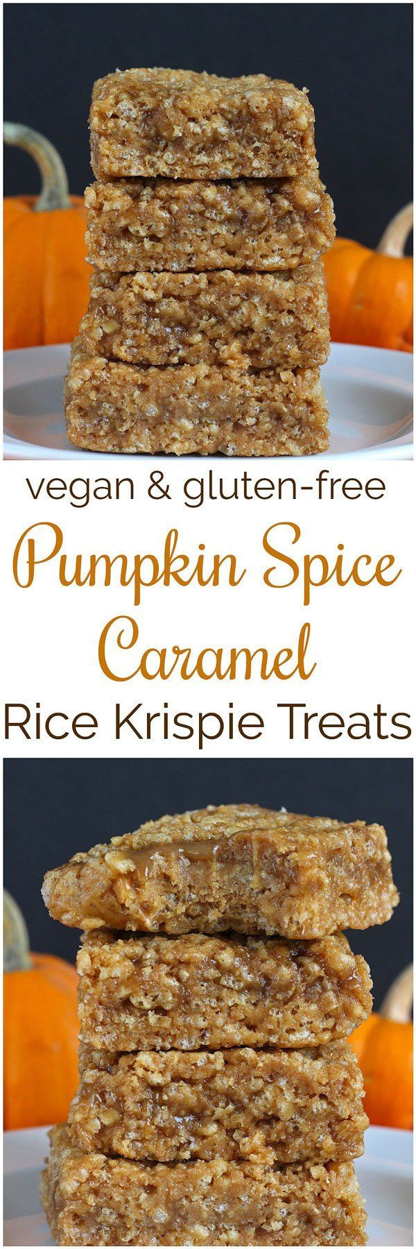 Pumpkin Spice Caramel Rice Krispie Treats [ VEGAN ] Transform those traditional rice krispie treats into something more fun with these Pumpkin Spice Caramel Rice Krispie Treats!