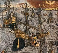 293 – (1543)  Blasco Nuñez de Vela, se estableció en la Armada de los Habsburgo españoles, por demanda de los comerciantes de Sevilla, para la protección de la navegación de convoyes, constituyendo por primera vez en las colonias este tipo de seguridad.  Blasco fue el primero que mandó una flota de resguardo en dicho año.