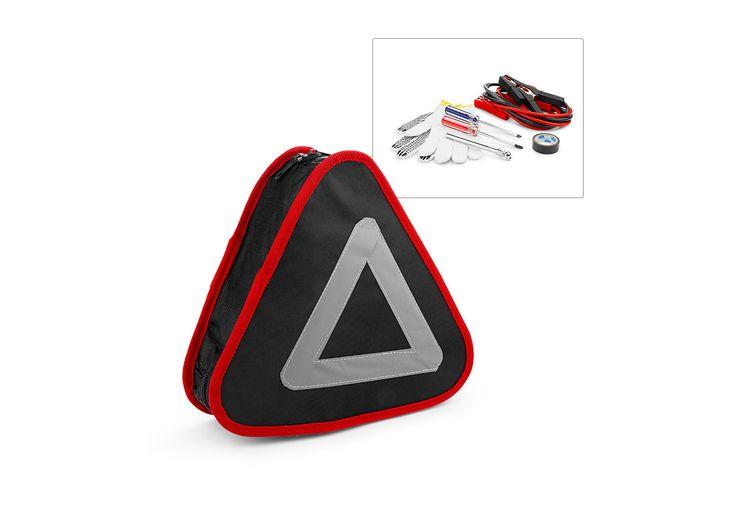 HE0281 Kit Emergency Auto 8Pcs. Kit de emergencia para automóvil. Contiene: 1 destornillador tipo Phillips, 1 destornillador tipo pala, 1 par de guantes, rollo de cinta aislante, cables para batería, estuche, calibrador y triángulo reflectivo.