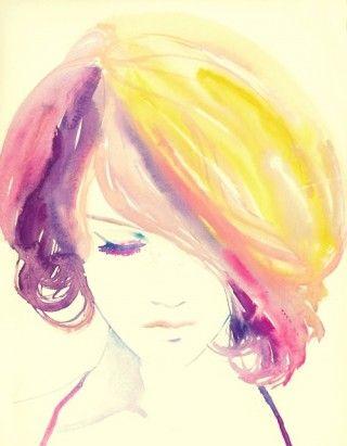 PastelHair Colors, Inspiration, Watercolors Portraits, Watercolors Illustration, Portraits Art, Water Colors, Fashion Illustrations, Watercolors Painting, Recipe Book