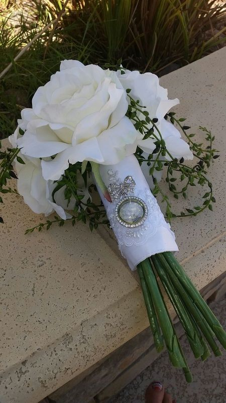 """Bridal bouquet with Origami Owl """"bowquet"""" pin and silver """"bling"""" locket."""