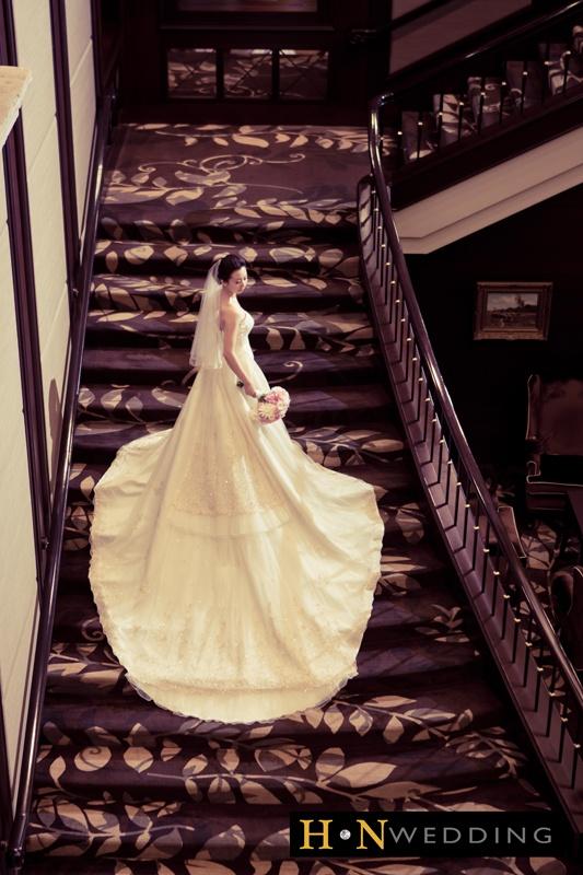 Wedding Dress, Vintage, Long train, Stairway, Veil, Bouquet, Terminal City Club