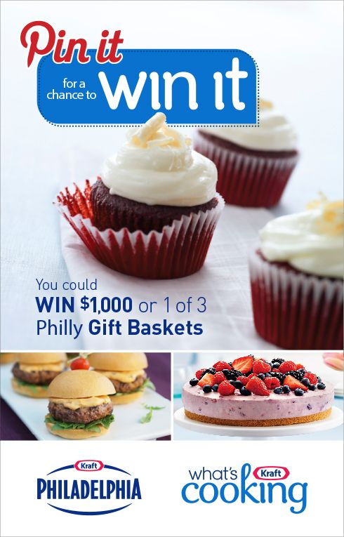 I just entered for a chance to WIN $1,000 or 1 of 3 Philly Gift Baskets. Enter until August 25, 2013, 5:00PM ET for your chance to win. Visit us at http://www.kraftwhatscookingcontest.ca.