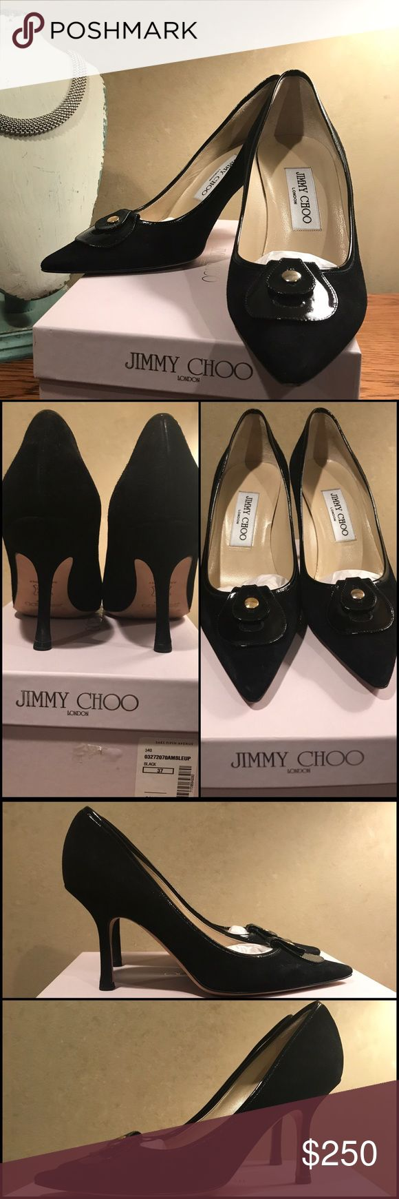 Jimmy Choo - Black Leather & Suede Pumps Jimmy Choo // Black Suede & Patent Leather heels w/ gold hardware detail. Worn ONLY Once, only evidence of which can be seen on bottom soles. Size: 37 (7US). Comes with original dust bag and box.                          Original retail value printed on box, in the listing I account for the 7.25% sales tax. Purchased from Saks Fifth Avenue and meticulously cared for.   Not eligible for bundle discount. Jimmy Choo Shoes Heels