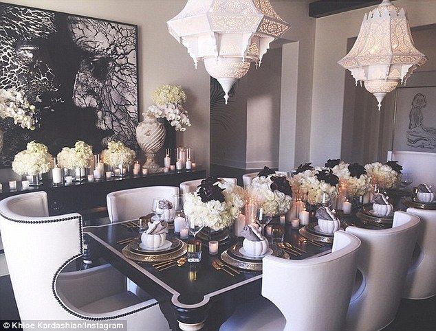Lavish: Khloe Kardashian shared a snap of her ornately decorated table ahead of her Thanksgiving dinner with her family, which she is hosting at her house