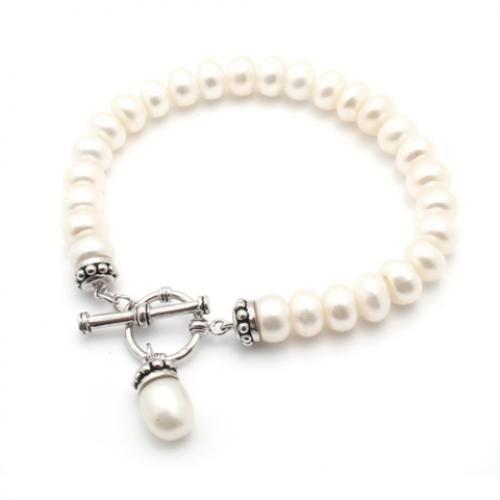Bali Caviar & Pearl Link Bridal Bracelet 7in